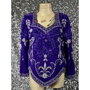 Vintage Tops - 🖤 Vintage 1980s Creative Touch purple beaded top